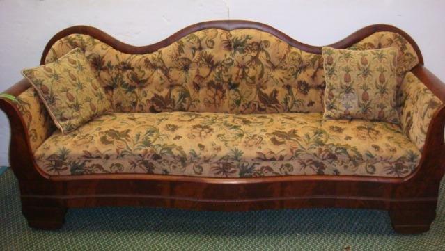 American Empire Figural Mahogany Upholstered Sofa Lot 123