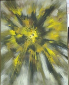 Signed Sunburst Oil On Canvas: