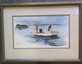 """Wayne Fulcher Watercolor, """"working Oystermen"""":"""