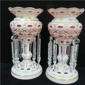 Pr. Of Cased White Cut-to-pink Glass Bohemian Lusters: