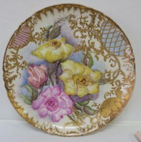 Jean Pouyat Limoges Hand Painted Cabinet Plate: