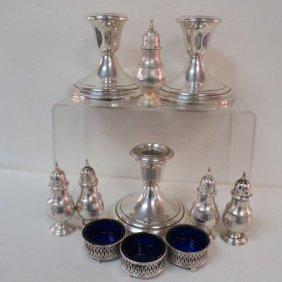 Sterling Silver Candlesticks, Salts And Shakers: