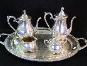 "Wm Roger & Sons Silver-plate ""victorian Rose"" Tea Set:"