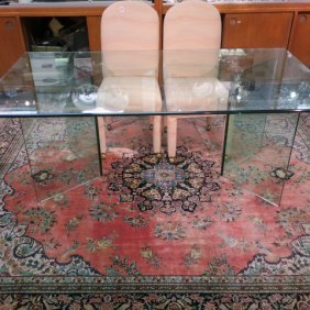 Glass Dining Table With Glass Support Base: