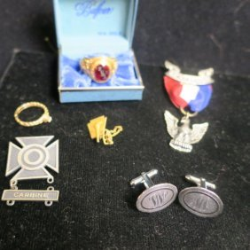 Six 14 & 10 Kt Gold Medals & Rings, Sterling Medals: