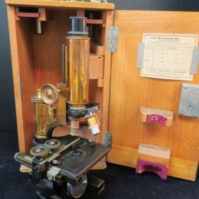 Antique Leitz Microscope In Original Box With Key: