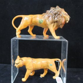 Beswick Ceramic Lion & Lioness Figurines: