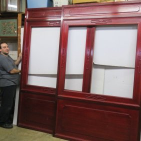 Pair Of Asian Rosewood Stained Panels: