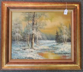 Woodland Snow Scene Oil On Canvas Signed J Medina: