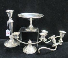 Two Sterling Silver Candleholders And Compote: