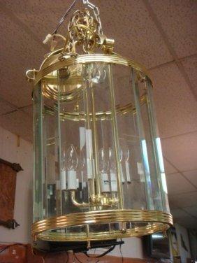 Modern Brass Four Light & Beveled Glass Chandelier: