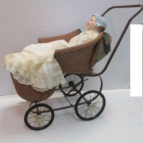 """1950's 25""""l Compo & Cloth Baby Doll And Stroller:"""