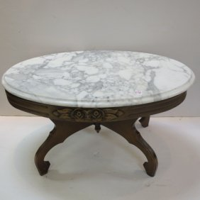 Oval Italian Marble Top Coffee Table: