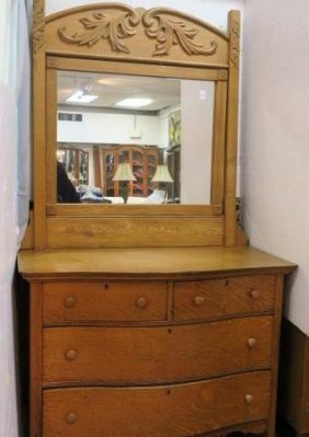 Golden Oak 2 Piece Dresser With Swing Mirror: