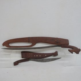 Two Primitive Philippine Knives With Animal Grips: