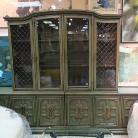 Green Painted Display Credenza And China Hutch:
