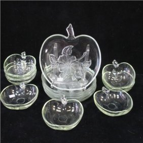 Apple Shaped Glass Plates And Bowls: