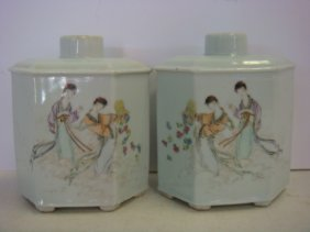 Pair Of Asian Octagonal Covered Vases: