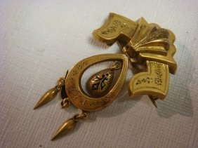 Victorian 10 Kt Yellow Gold Lavalier Pin: