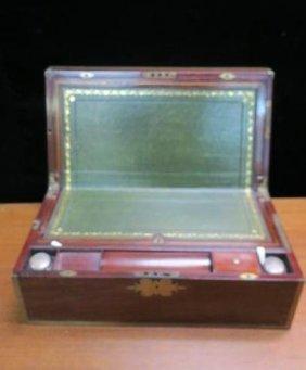 Mahogany Sloped Writing/lap Desk With Brass Inlay:
