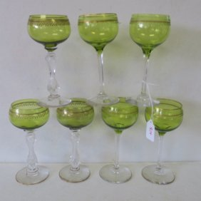 Seven Saint Louis Glass Chartreuse Hock Wine Stems: