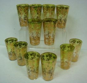 Twelve Moser Bohemian Gold Encrusted Glasses: