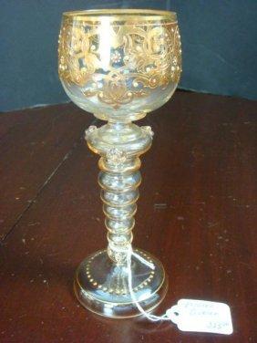 Vintage Moser Gilt And Enamel Wine Stem: