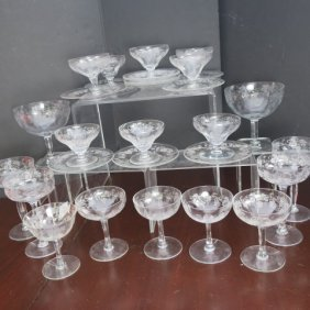 Thirty Pieces Of Grapevine Etched Glassware: