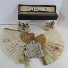 Beaded Purse, Opera Glasses, Two Chinese Silk Fans: