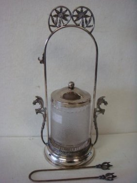 Victorian Pairpoint Silver Plate & Glass Pickle Castor: