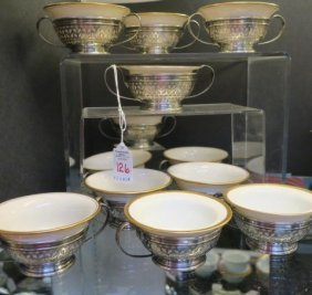 12 Gorham Sterling Silver Bouillon Cups With Liners: