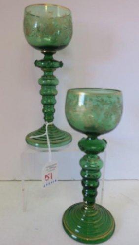 Pair Of Green Moser Bohemian Wine Stems, Ca 1925: