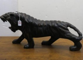 Hand Carved Wooden Prowling Tiger: