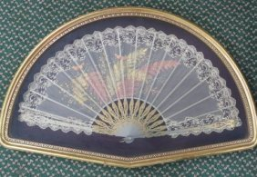 Antique Hand Painted Fan In Fitted Frame: