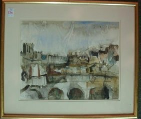 Watercolor Landscape Signed C. Sibley: