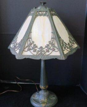 H.e. Rainaud Slag Glass Art Deco Table Lamp: