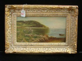 Oil On Canvas Board Waterscape Signed Sma: