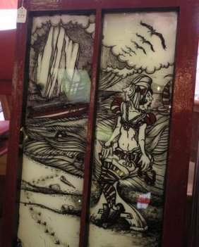 Reverse Painting On Vintage Window By Elaine Bass: