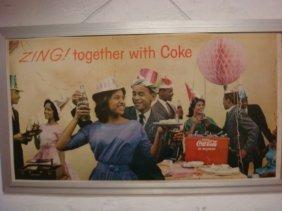 Framed Cardboard Coca-cola Advertisement: