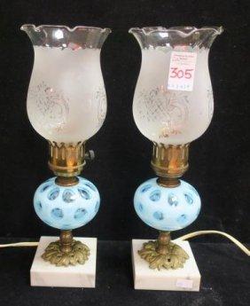 Pair Of Fenton Blue Coin Dot Boudoir Lamps: