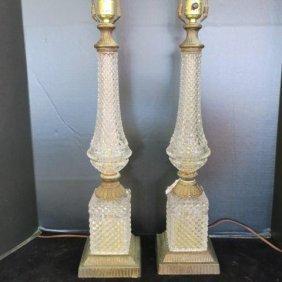 Pair Of Italian Lead Crystal Lamps: