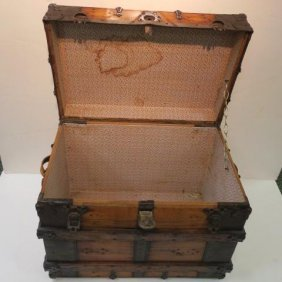 19th Century Reinforced Banded Box Trunk: