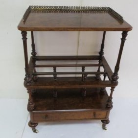 Inlaid Two Tiered Drink Cart: