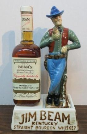 "Jim Beam ""cowboy"" Ceramic Bottle Holder, Ca 1984:"