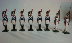 Eight Old Guard 54mm Hand Painted Model Soldiers: