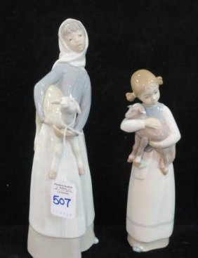 Two Lladro Girls With Lambs Figurines: