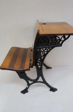Antique Childs School Desk With Folding Seat: