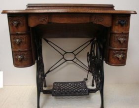 Ca. 1900 Sewing Machine Cabinet On Iron Base: