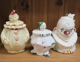 One Pan American, Two Vintage Mccoy Clown Cookie Jars: