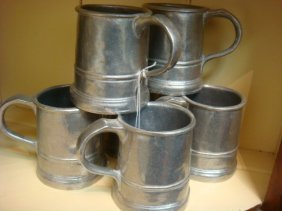 "Six Pewter 4"" Tankards:"